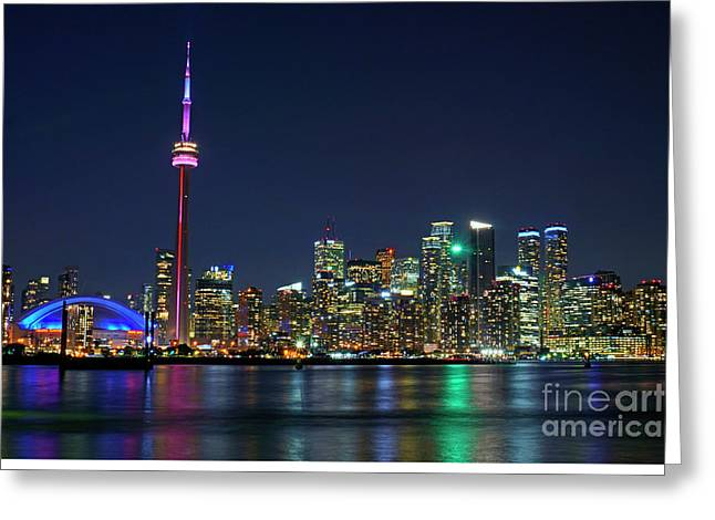 Boat Cruise Greeting Cards - Toronto Night Skyline Greeting Card by Charline Xia