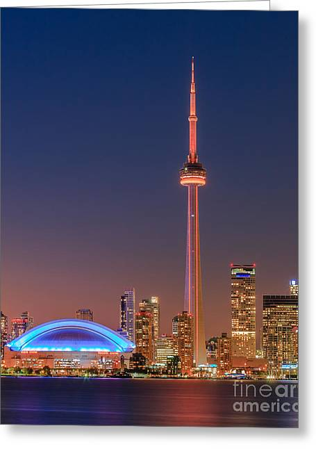Toronto Skyline After Sunset Greeting Card by Henk Meijer Photography
