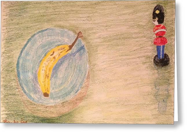 Banana Pastels Greeting Cards - Toy Soldier Guarding A Banana Greeting Card by Randy Lu