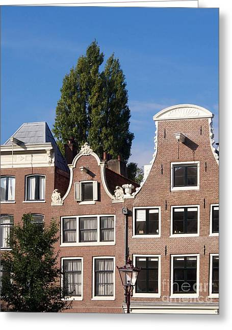 Facade Photographs Greeting Cards - Traditional canal houses in Amsterdam. Netherlands. Europe Greeting Card by Bernard Jaubert