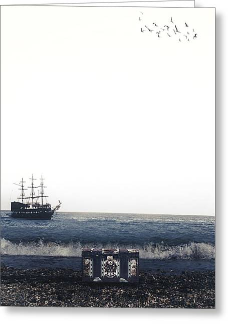 Pirates Greeting Cards - Treasure Chest Greeting Card by Joana Kruse