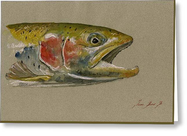 Art Decor Greeting Cards - Trout watercolor painting Greeting Card by Juan  Bosco