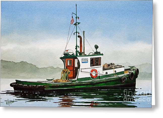 Tug Greeting Cards - Tugboat LELA FOSS Greeting Card by James Williamson
