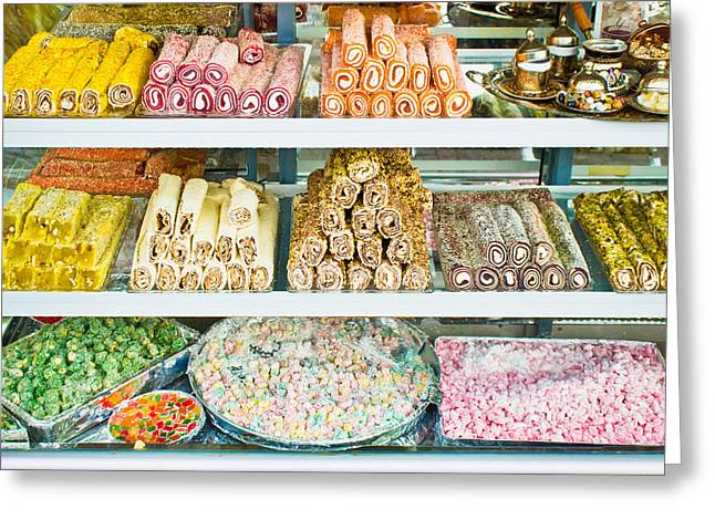 Label Greeting Cards - Turkish confectionary Greeting Card by Tom Gowanlock