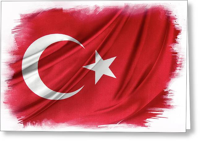 Turkish Flag Greeting Card by Les Cunliffe