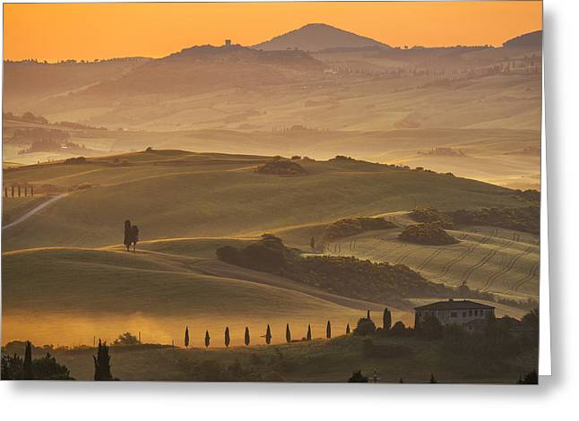 The Hills Greeting Cards - Tuscan Landscape Greeting Card by Christian Heeb