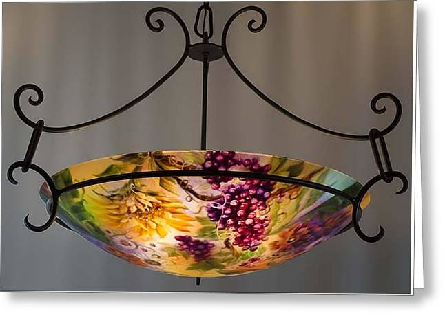 Grape Vineyard Glass Greeting Cards - Tuscany Garden hand painted chandelier by Jenny Floravita Greeting Card by Jenny Floravita