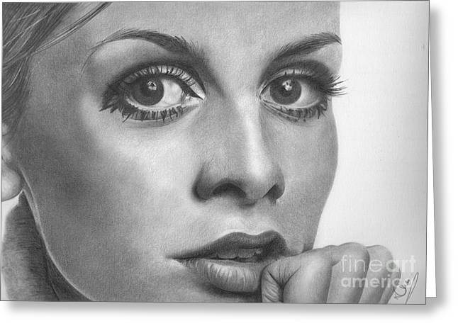 Twiggy Drawings Greeting Cards - Twiggy Greeting Card by Karen  Townsend