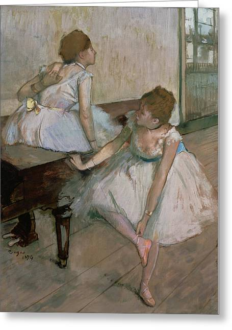 Dancing Girl Pastels Greeting Cards - Two Dancers Resting Greeting Card by Edgar Degas
