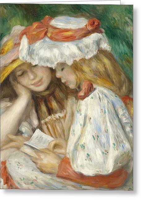 Renoir Greeting Cards - Two Girls Reading Greeting Card by Pierre Auguste Renoir