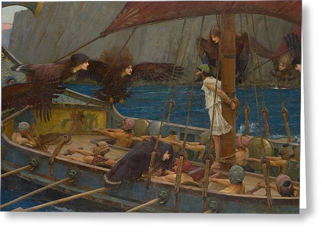 Rowers Paintings Greeting Cards - Ulysses and the Sirens Greeting Card by John William Waterhouse