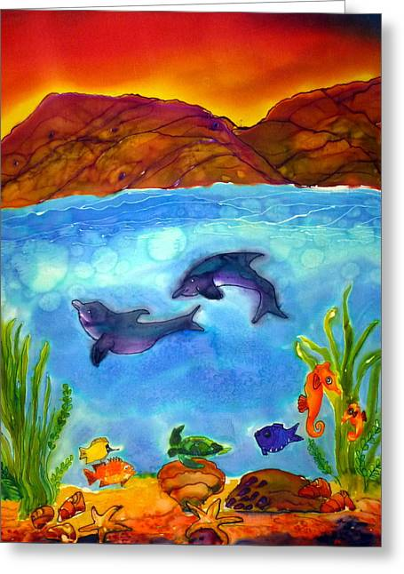 Seahorse Tapestries - Textiles Greeting Cards - Under the Sea Greeting Card by Beverly Johnson