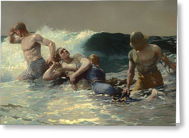 Undertow Paintings Greeting Cards - Undertow Greeting Card by Winslow Homer