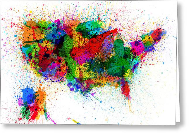 United States Paint Splashes Map Greeting Card by Michael Tompsett