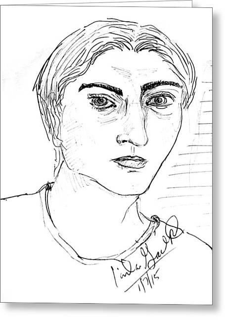 Pensive Drawings Greeting Cards - Untitled Greeting Card by Linda Gail