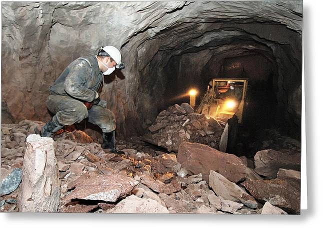 Asian Workers Greeting Cards - Uranium Mining Greeting Card by Ria Novosti