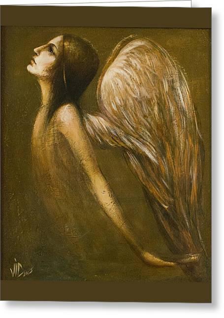 Uriel Guardian Angel Greeting Card by Vali Irina Ciobanu