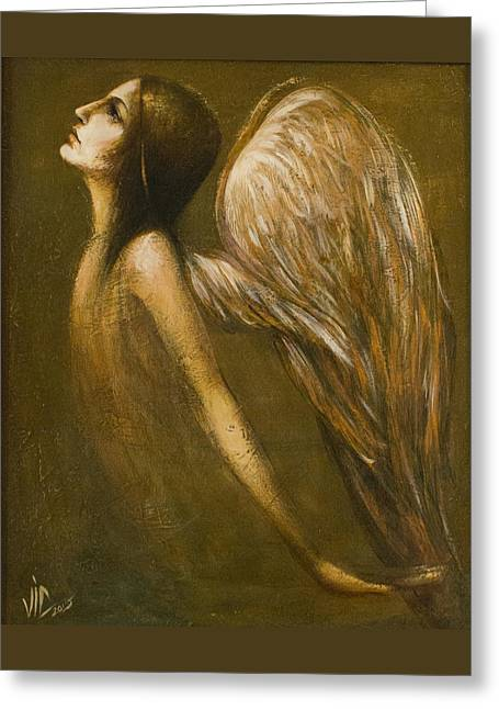 Archangel Drawings Greeting Cards - Uriel Guardian Angel Greeting Card by Vali Irina Ciobanu