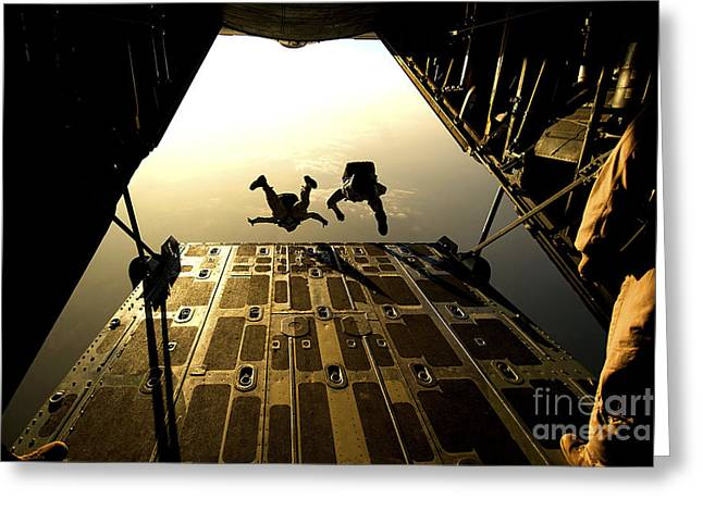 U.s. Air Force Pararescuemen Jump Greeting Card by Stocktrek Images