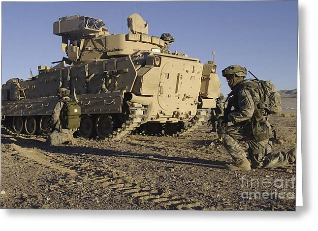 Carrier Greeting Cards - U.s. Army Soldiers Provide Security Greeting Card by Stocktrek Images