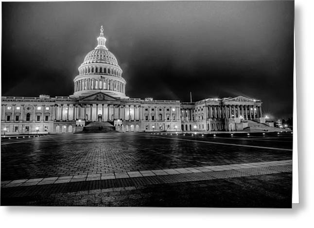Reflecting Water Greeting Cards - US Capitol Building  at night Greeting Card by Alexandr Grichenko