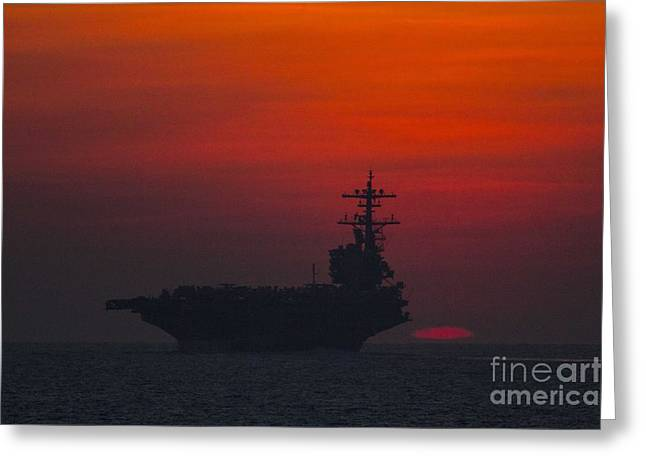 Strike Group Greeting Cards - USS George H.W. Bush Greeting Card by Celestial Images