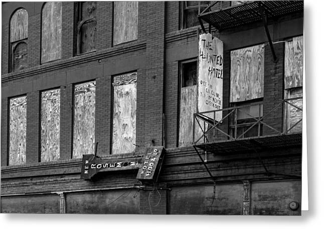 Empty Building Greeting Cards - Vacancy at the Haunted Hotel - Beaumont Texas Greeting Card by Mountain Dreams