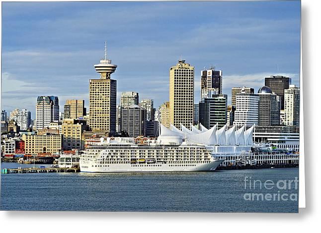 Panoramics Greeting Cards - Vancouver skyline Greeting Card by John Greim