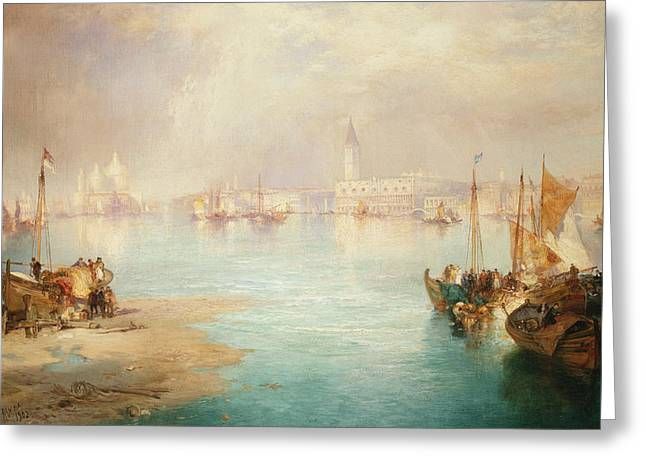 Italian Islands Greeting Cards - Venice Greeting Card by Thomas Moran
