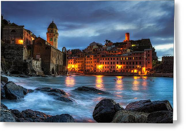 Italian Sunset Greeting Cards - Vernazza at Sunset Greeting Card by Insung Choi