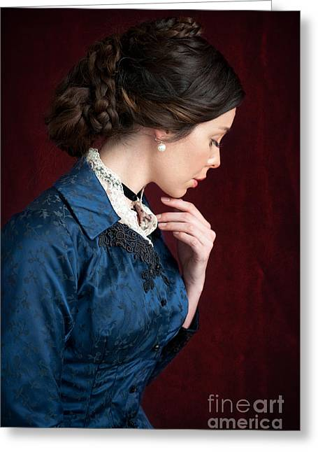 Braided Updo Greeting Cards - Victorian Woman Portrait Greeting Card by Lee Avison