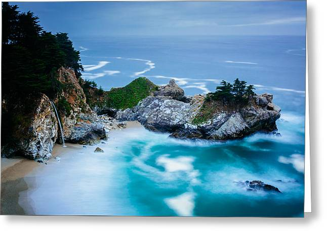 Big Sur Greeting Cards - View of McWay Falls at Julia Pfeiffer Burns State Park Big Sur California Greeting Card by Jon Bilous