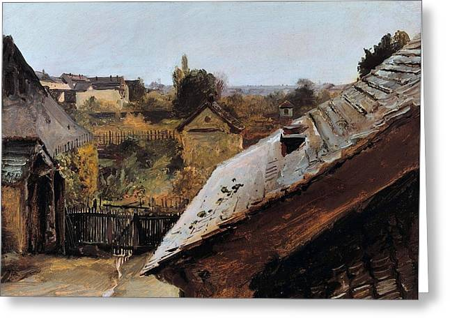 View Of Roofs And Gardens Greeting Card by Carl Blechen
