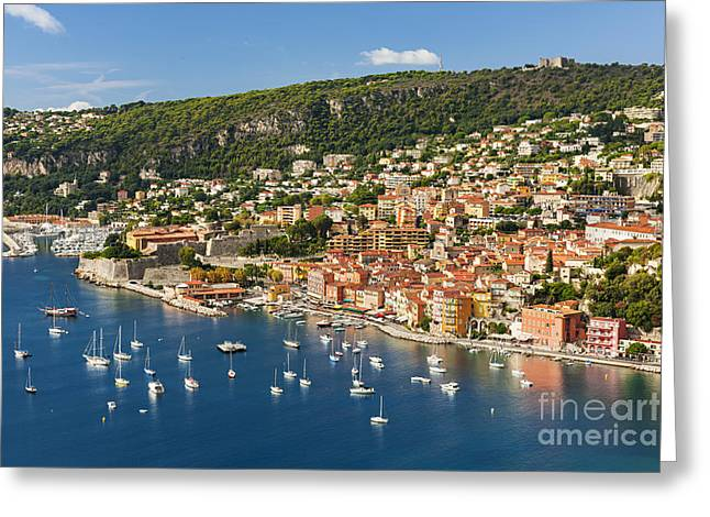 Mediterranean Landscape Greeting Cards - Villefranche-sur-Mer view on French Riviera Greeting Card by Elena Elisseeva