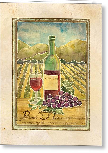 Red Wine Bottle Mixed Media Greeting Cards - Vineyard Pinot Noir Grapes n Wine - Batik Style Greeting Card by Audrey Jeanne Roberts
