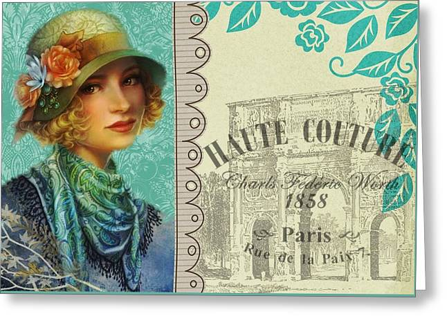 Vintage Paris Poster Greeting Card by FL collection