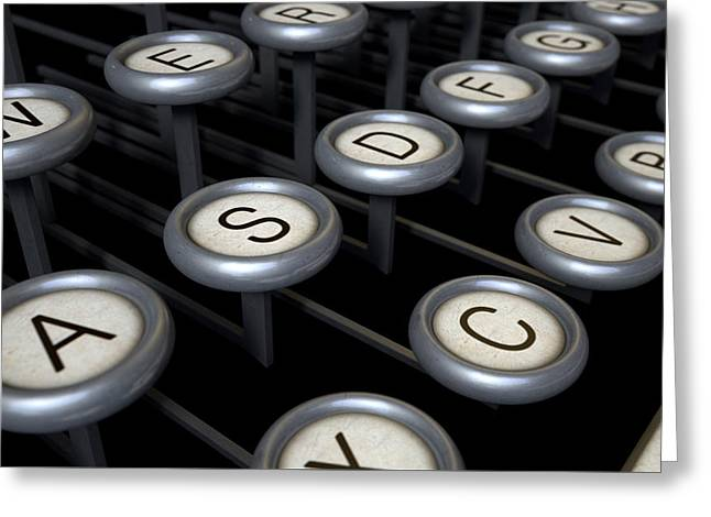 Typewriter Greeting Cards - Vintage Typewriter Keys Close Up Greeting Card by Allan Swart