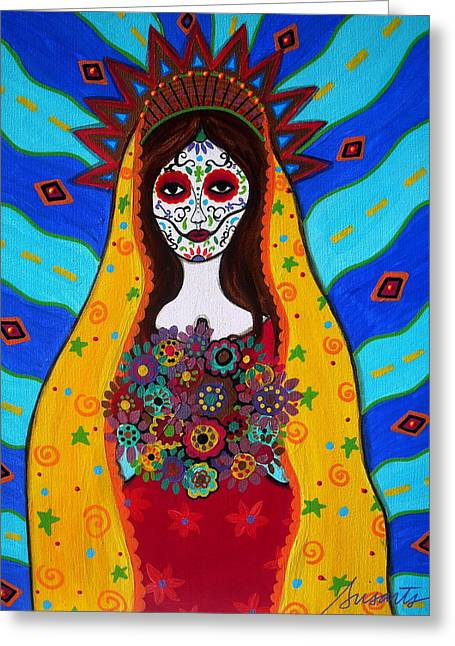 Carter House Greeting Cards - Virgen Guadalupe Greeting Card by Pristine Cartera Turkus