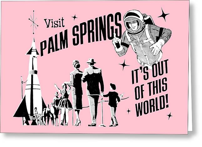 Visit Palm Springs Pink Greeting Card by Neo