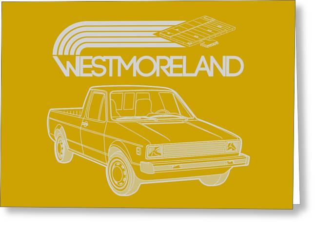 Vw Rabbit Pickup - Westmoreland Theme - Black Greeting Card by Ed Jackson