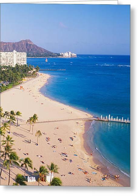 Waikiki Beach And Diamond Head Greeting Card by Panoramic Images