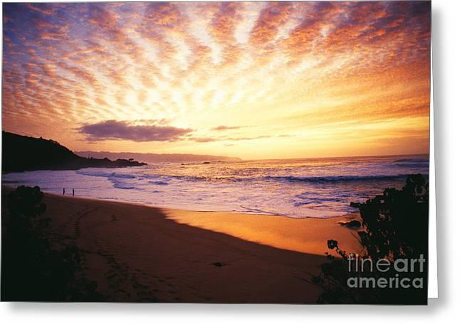 Waimea Bay Sunset Greeting Card by Bob Abraham - Printscapes