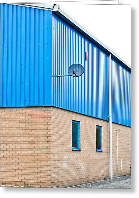 Forecourt Greeting Cards - Warehouse Greeting Card by Tom Gowanlock