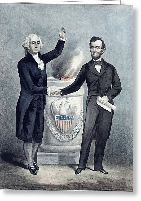 Washington And Lincoln Greeting Card by War Is Hell Store