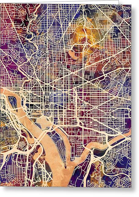 District Columbia Greeting Cards - Washington DC Street Map Greeting Card by Michael Tompsett