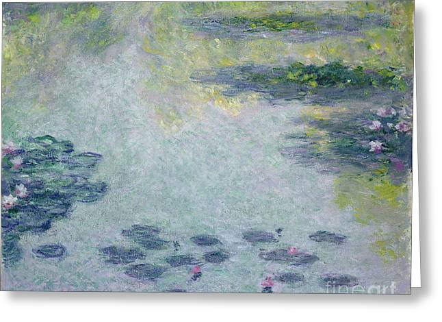 Reflection On Pond Greeting Cards - Waterlilies Greeting Card by Claude Monet
