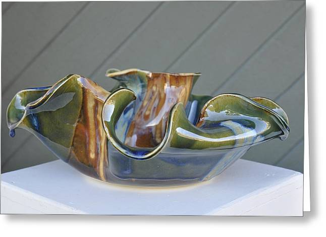 Unique Ceramics Greeting Cards - Wave Bowl Greeting Card by Gibbs Baum
