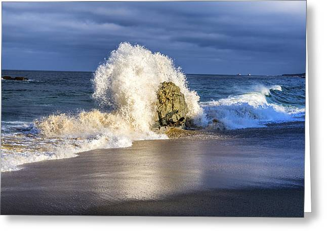 California Ocean Photography Greeting Cards - Wave Meets Rock Greeting Card by Joseph S Giacalone