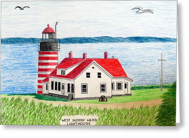 West Quoddy Head Lighthouse Greeting Card by Frederic Kohli