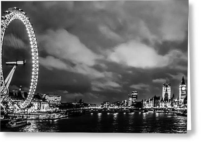 Night Shot Greeting Cards - Westminster and the London Eye Greeting Card by Dawn OConnor